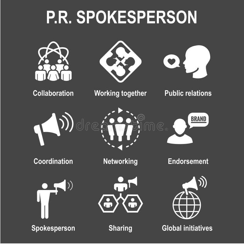 Geplaatst woordvoerderpictogram - megafoon, coördinatie, PR, en openbaar r royalty-vrije illustratie