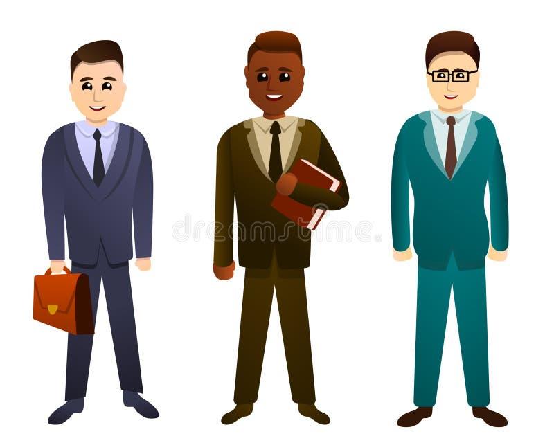 Geplaatste advocaatpictogrammen, beeldverhaalstijl stock illustratie