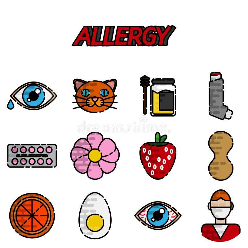 Geplaatste allergie Vlakke Pictogrammen vector illustratie
