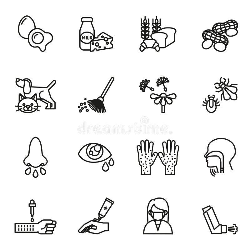 Geplaatste allergiepictogrammen vector illustratie
