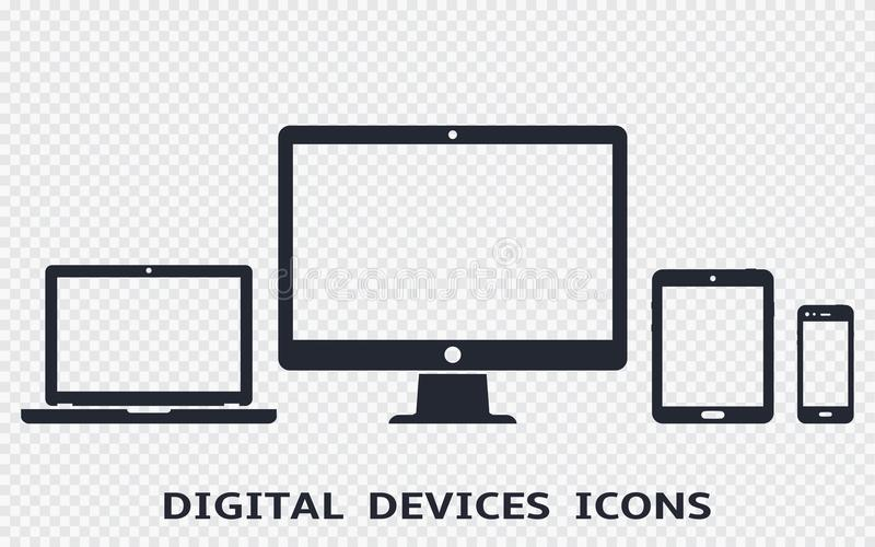 Geplaatste apparatenpictogrammen: smartphone, tablet, laptop en bureaucomputer Vectorillustratie van ontvankelijk Webontwerp stock illustratie