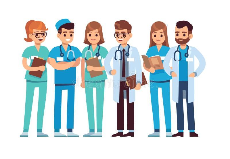 Geplaatste artsen De medische personeelsteam van de de therapeutchirurg van de artsenverpleegster professionele het ziekenhuisarb royalty-vrije illustratie
