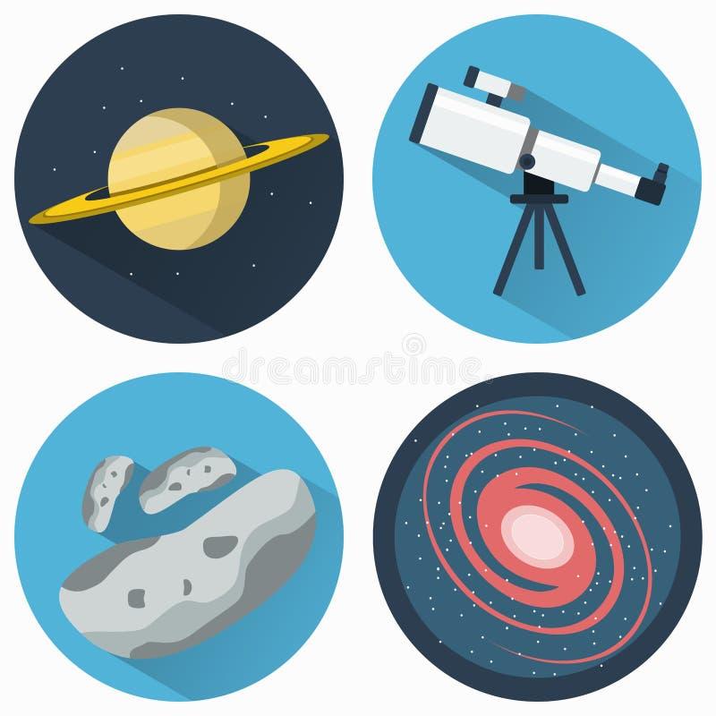 Geplaatste astronomiepictogrammen royalty-vrije illustratie