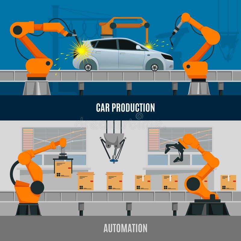 Geplaatste automatiseringsbanners vector illustratie