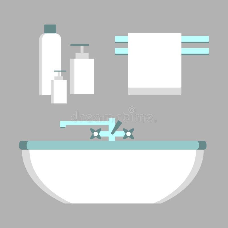Geplaatste badkamerselementen stock illustratie