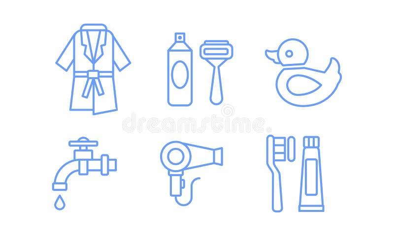 Geplaatste badkamerspictogrammen, badjas, scheermes, het scheren gel, waterkraan, hairdryer, tandenborstel en deeg lineaire symbo vector illustratie