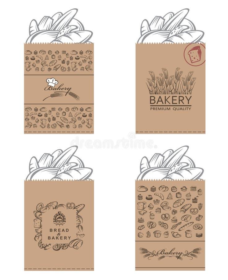 Geplaatste bakkerijpakketten stock illustratie
