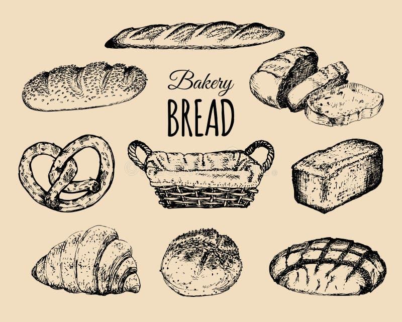 Geplaatste bakkerijproducten Broodinzameling Hand getrokken broden, croissant, ongezuurd broodjeenz. illustratie met rieten mand  stock illustratie