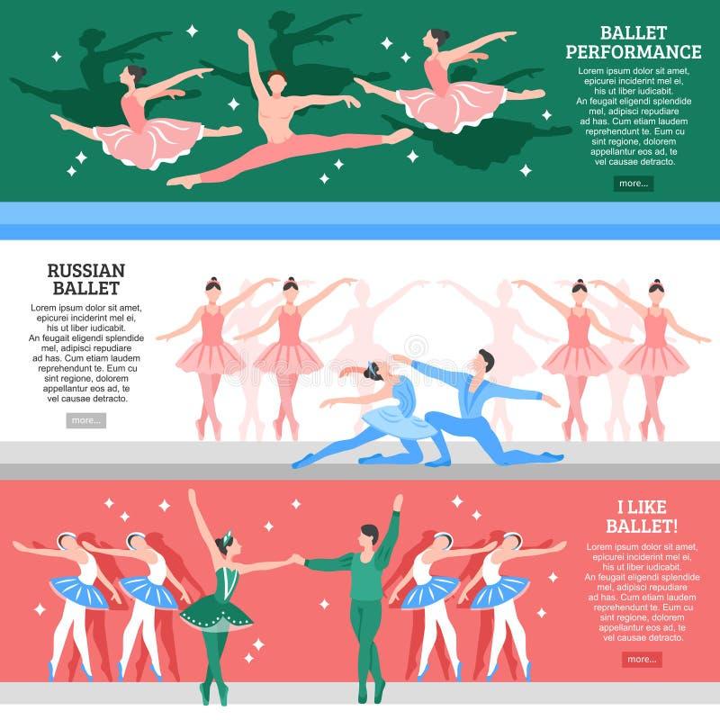 Geplaatste ballet Vlakke Banners stock illustratie
