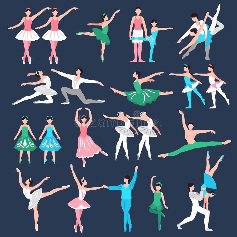 Geplaatste balletdansers vector illustratie