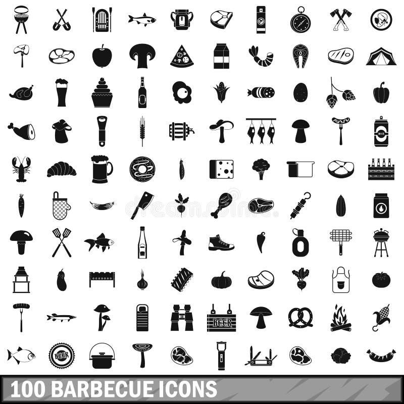 100 geplaatste barbecuepictogrammen, eenvoudige stijl royalty-vrije illustratie