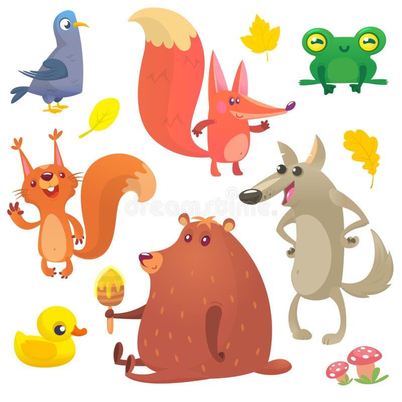 Geplaatste beeldverhaal bosdieren Vectorillustratie van duif, vos, kikker, eekhoorn, eend, beer en wolf stock illustratie