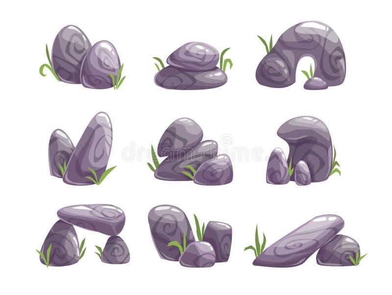 Geplaatste beeldverhaal grijze stenen stock illustratie