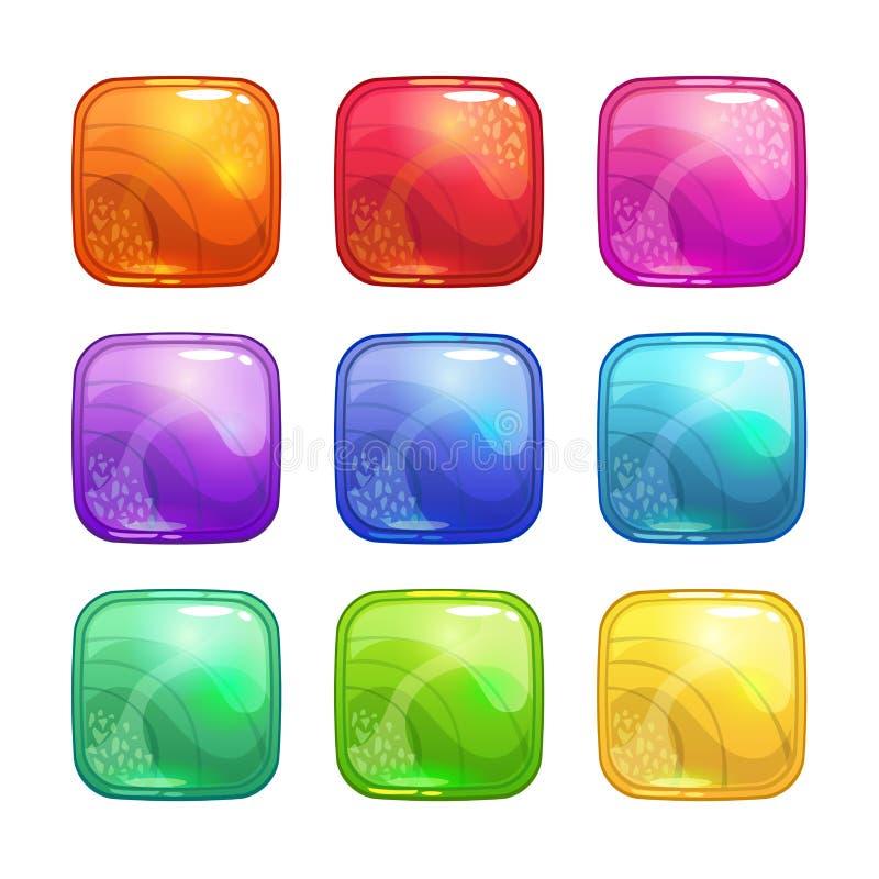 Geplaatste beeldverhaal kleurrijke vierkante glanzende knopen stock illustratie