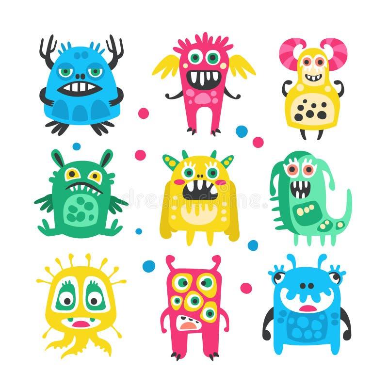 Geplaatste beeldverhaal leuke grappige monsters, vreemdelingen en bacterias Kleurrijke inzameling van vriendschappelijke monsters vector illustratie