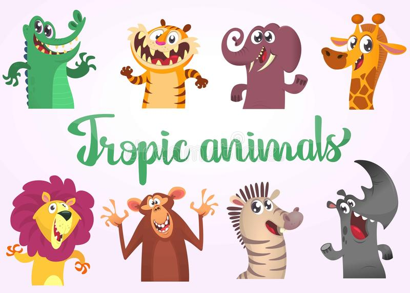 Geplaatste beeldverhaal tropische wilde dieren Vectorillustraties van Afrikaanse dieren Krokodilalligator, tijger, olifant, giraf stock illustratie