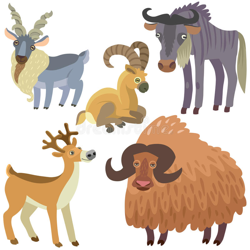Geplaatste beeldverhaal ungulate dieren vector illustratie