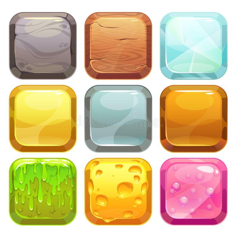 Geplaatste beeldverhaal vierkante knopen, app pictogrammen royalty-vrije illustratie