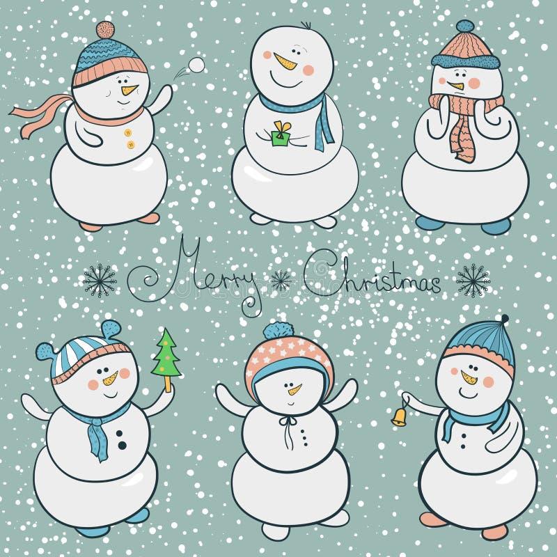 Geplaatste beeldverhaalsneeuwmannen, Kerstmisillustratie stock illustratie