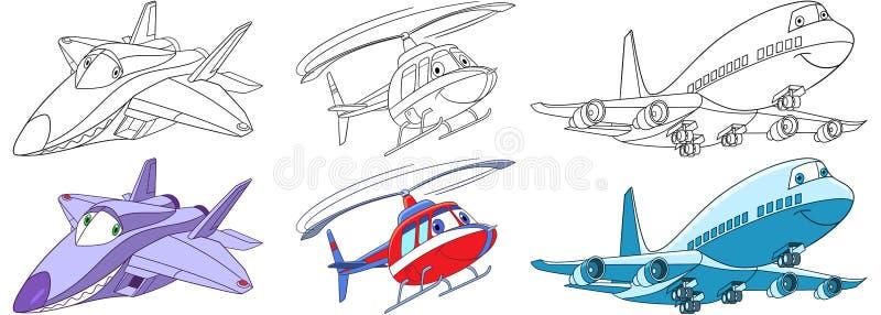 Geplaatste beeldverhaalvliegtuigen royalty-vrije illustratie