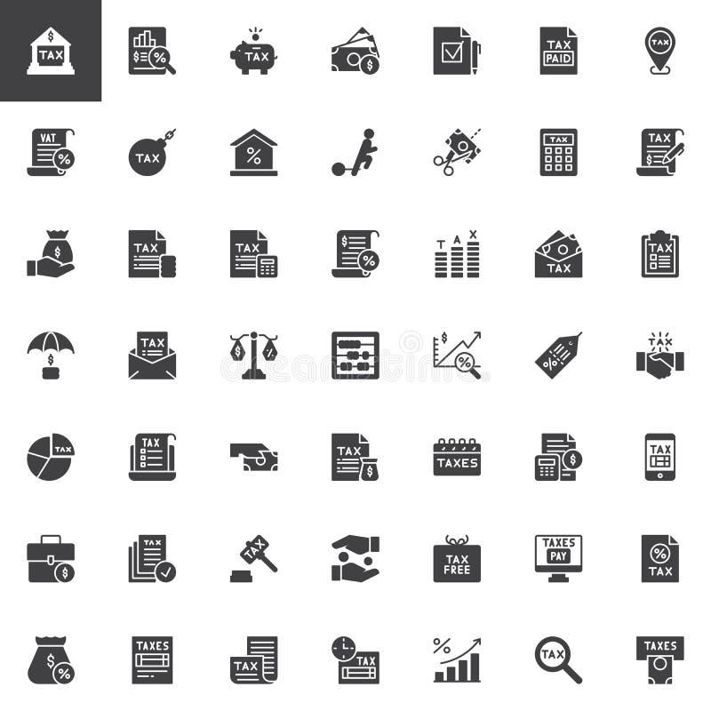 Geplaatste belastingen vectorpictogrammen stock illustratie