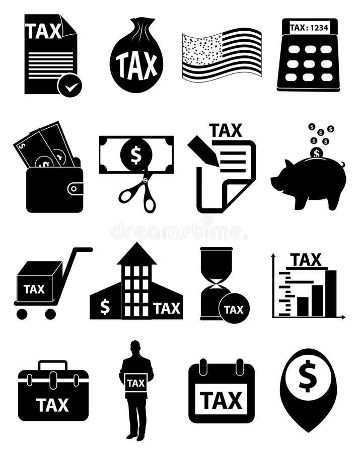 Geplaatste belastingspictogrammen royalty-vrije illustratie