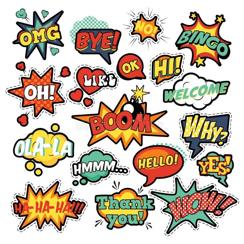 Geplaatste bellen van de pop-art de grappige toespraak stock illustratie