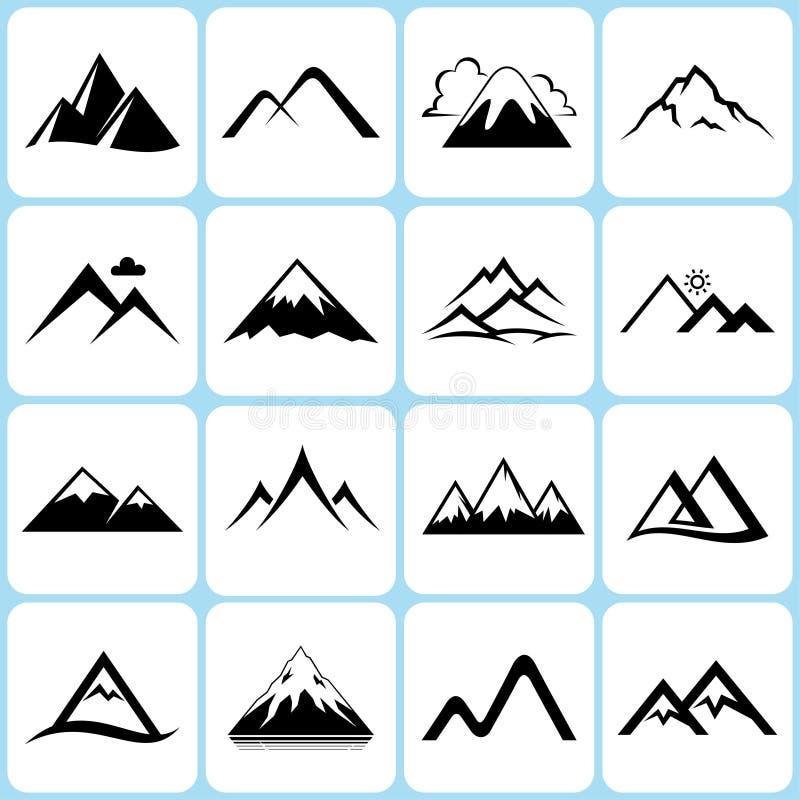 Geplaatste bergpictogrammen stock illustratie
