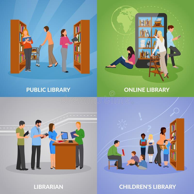 Geplaatste bibliotheekpictogrammen vector illustratie