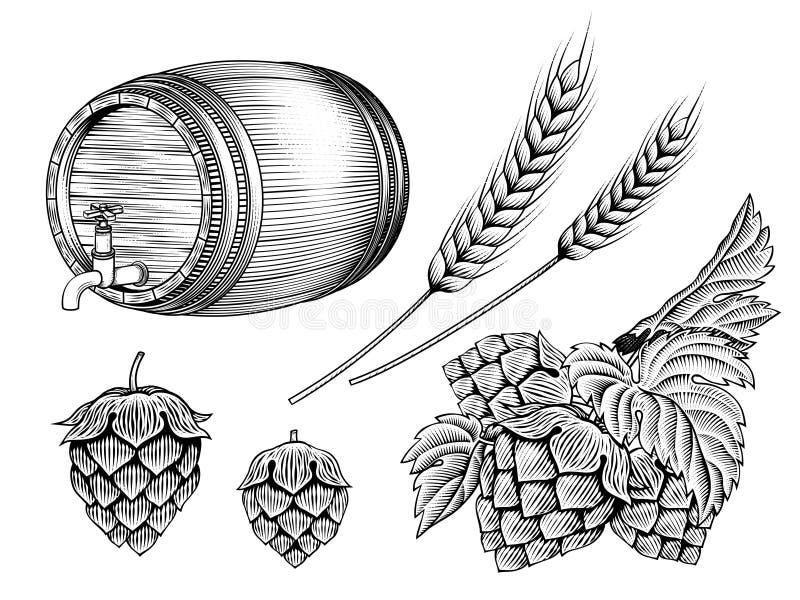 Geplaatste bieringrediënten royalty-vrije illustratie