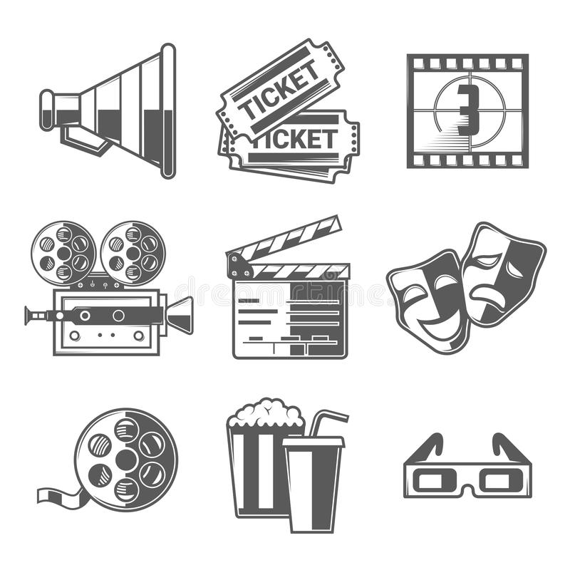 Geplaatste bioskooppictogrammen (Megafoon, Kaartjes, Aftelprocedure, Camera, Kleppenraad, Maskers, Spoel, Popcorn en Drank, Glaze vector illustratie