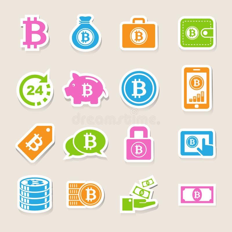 Geplaatste Bitcoinpictogrammen vector illustratie