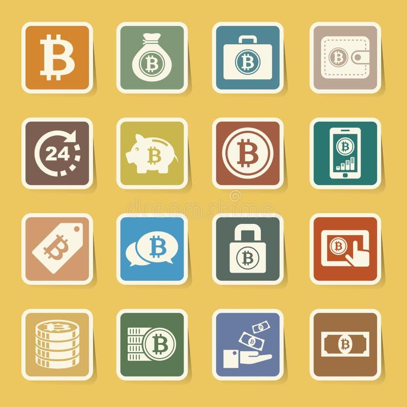 Geplaatste Bitcoinpictogrammen royalty-vrije illustratie