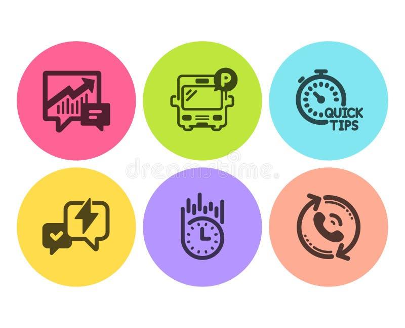 Geplaatste bliksembout, Snelle uiteinden en de pictogrammen van het Busparkeren Rekenschap gevende, Snelle levering en call centr vector illustratie