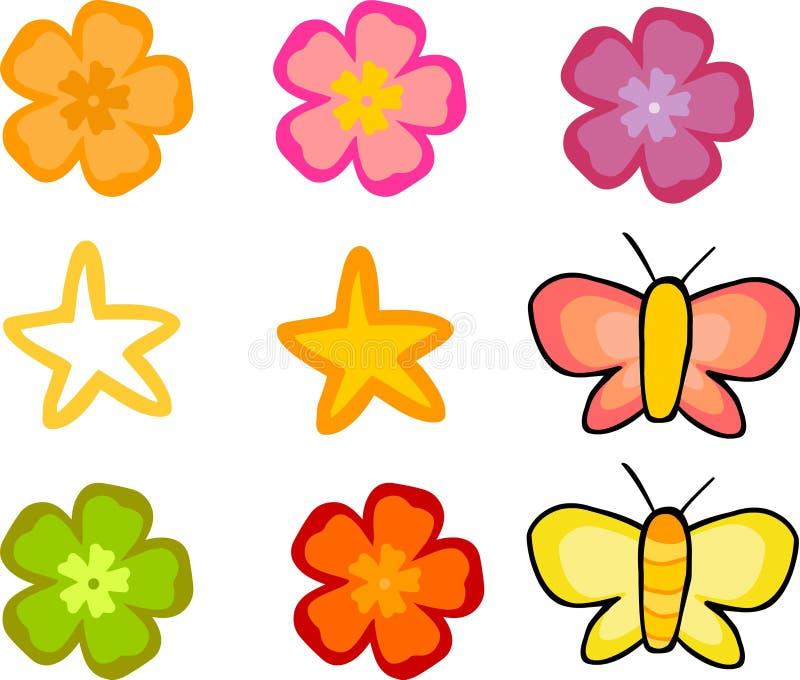 Geplaatste bloemen en Vlinders royalty-vrije illustratie