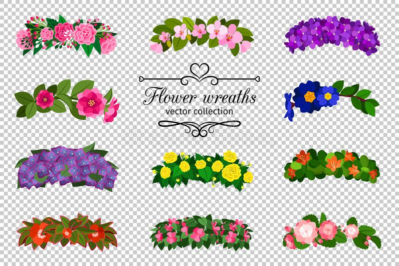 Geplaatste bloemkronen vector illustratie