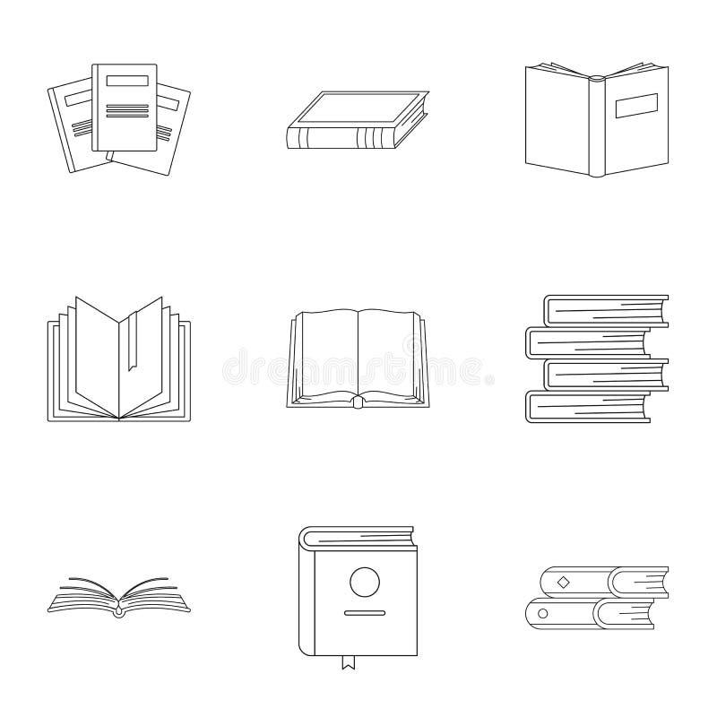 Geplaatste boekdeel de pictogrammen, schetsen stijl vector illustratie