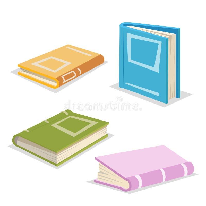 Geplaatste boeken van het beeldverhaal de in ontwerp bibliotheek Onderwijs en schoolsymboleninzameling royalty-vrije illustratie