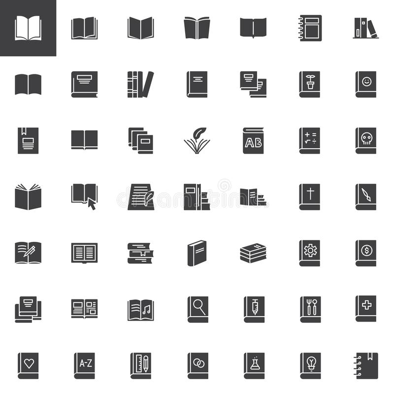Geplaatste boeken vectorpictogrammen royalty-vrije illustratie