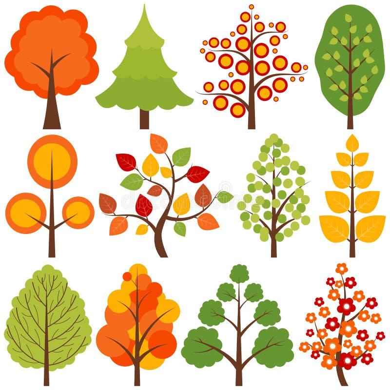 Geplaatste bomen stock illustratie