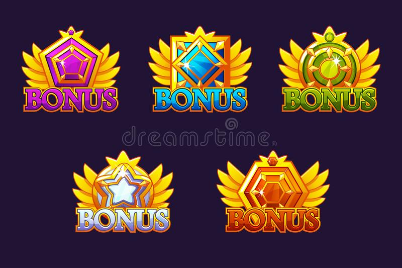 Geplaatste bonuspictogrammen Vector Kleurrijke juwelenstenen Toekenning met gemmen Spelactiva voor casino en UI vector illustratie