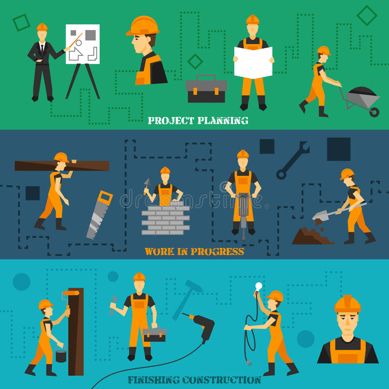 Geplaatste bouwbanners royalty-vrije illustratie