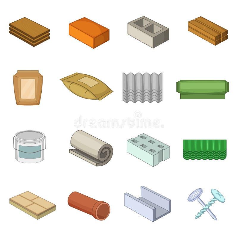 Geplaatste bouwmateriaalpictogrammen, beeldverhaalstijl vector illustratie