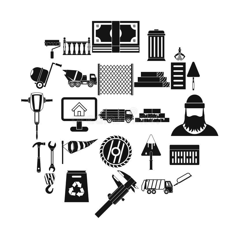 Geplaatste bouwmateriaalpictogrammen, eenvoudige stijl stock illustratie