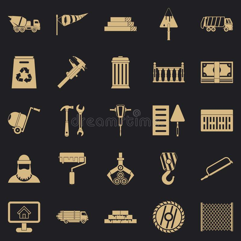 Geplaatste bouwmateriaalpictogrammen, eenvoudige stijl royalty-vrije illustratie