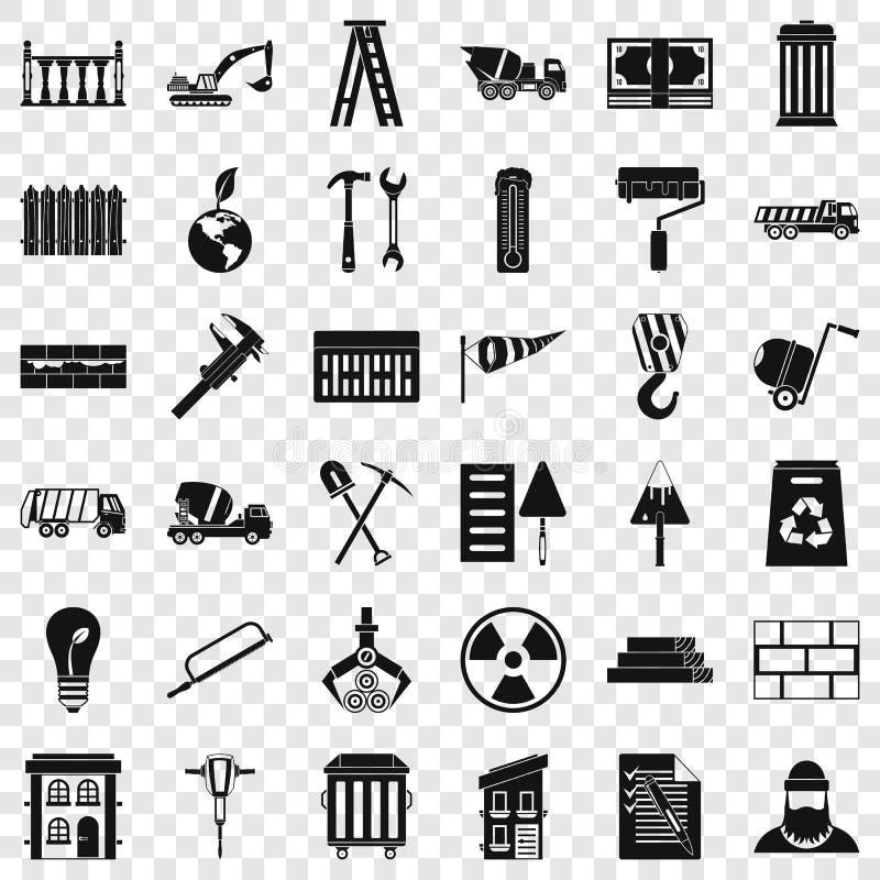 Geplaatste bouwmateriaalpictogrammen, eenvoudige stijl vector illustratie