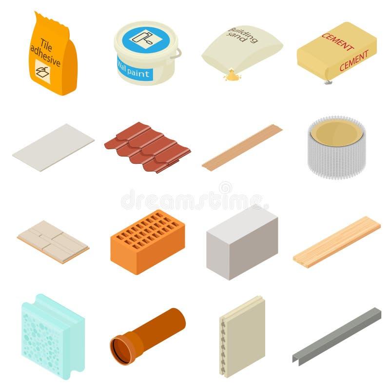 Geplaatste bouwmaterialenpictogrammen, isometrische stijl vector illustratie