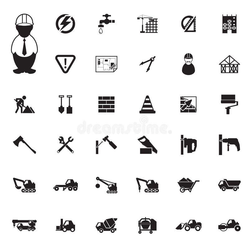 Geplaatste bouwpictogrammen vector illustratie