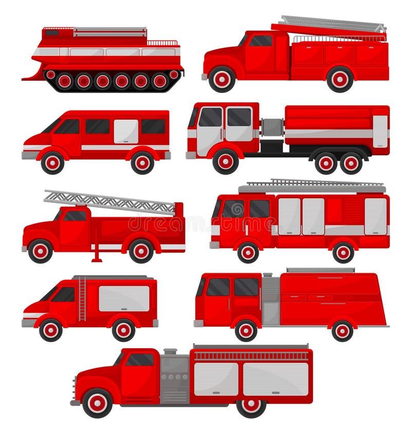 Geplaatste brandvrachtwagens, noodsituatievoertuigen, zijaanzicht vectorillustraties op een witte achtergrond royalty-vrije illustratie