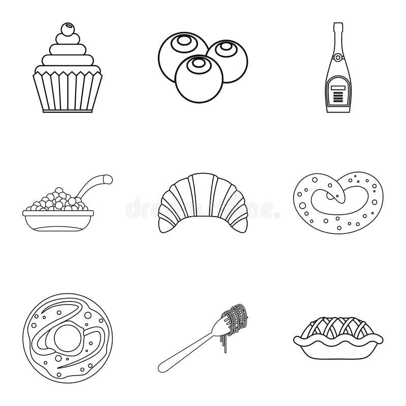 Geplaatste breker de pictogrammen, schetsen stijl royalty-vrije illustratie